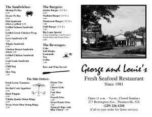George and Louies Menu Pages 1 and 21